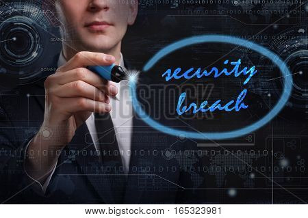 Business, Technology, Internet And Network Concept. Young Business Man Writing Word: Security Breach
