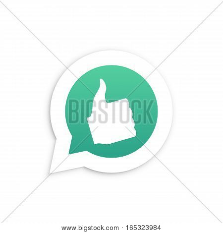 Thumbs Up Hand in speech bubble icon Vector illustration