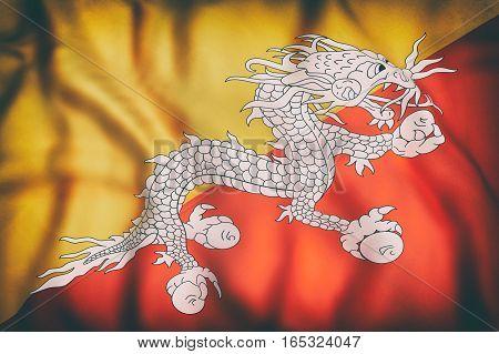 Kingdom Of Bhutan Flag Waving