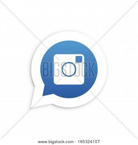 Blue Camera in speech bubble icon Vector illustration