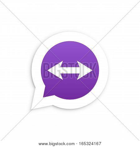 Arrows in speech bubble icon Vector illustration