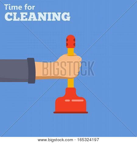 Plumbing Service concept Cleaning falt icons hand with plunger. isolated vector illustration