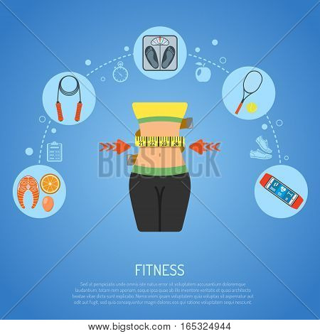 Healthy Lifestyle and Fitness Concept with Flat Icons waistline, scales and Gadgets. vector illustration