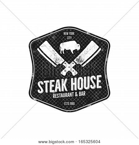 Steak House vintage Label. Typography letterpress design. Vector steak house retro logo. Included bbq grill symbols for customizing steak house badge. Monochrome insignia isolated.