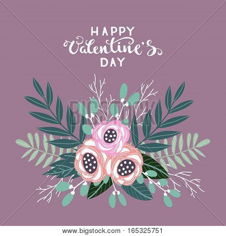 Colorful vintage bouquet of flowers, Happy Valentines Day vector illustration