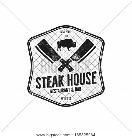 Steak House vintage Label. Typography letterpress design. Vector steak house retro logo. Included bbq grill symbols for customizing steak house badge. Monochrome insignia isolated on white background