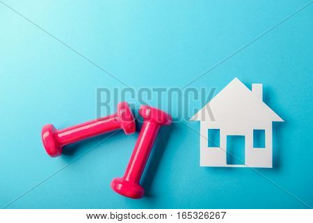 Pair Of Pink 1 Kg Dumbbells On Blue Background