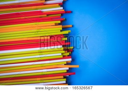 Colorful drinking straws for the color background. Abstract a colorful of plastic straws used for drinking water or soft drinks