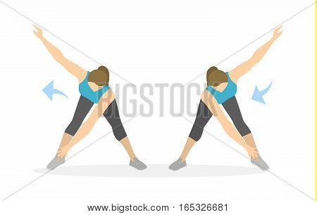 Arms exercise for women on white background. Workout for arms and hands. Side turns.