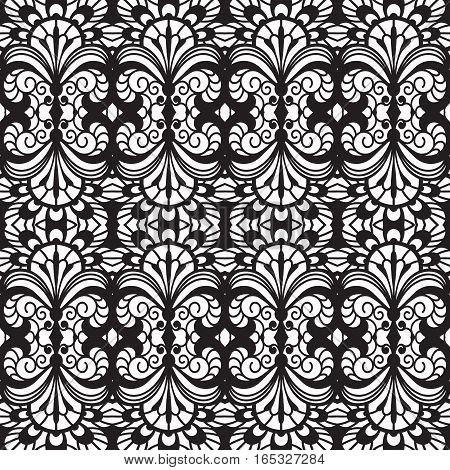 Black and white background, lace texture, vector seamless pattern