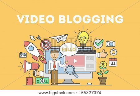 Video blogging concept.Idea of creating videos and vlogs about anything. Illustartion with icons as lightbulv, rocket, laptop screen.