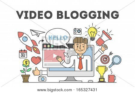 Video blogging concept.Idea of creating videos and vlogs about anything. Illustartion with icons as lightbulv, rocket, laptop screen. White background.