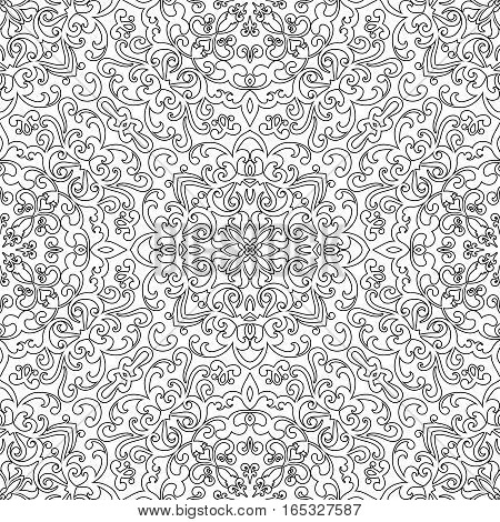 Seamless pattern for coloring book, black and white background, repeating swirly doodle ornament, decorative mehndi design