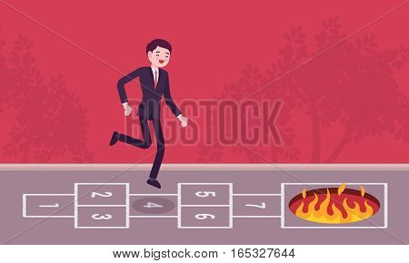 Young carefree businessman playing hopscotch, jumping unaware of danger in front of him, having no business instinct or business plan , making fatal step, bad business vision