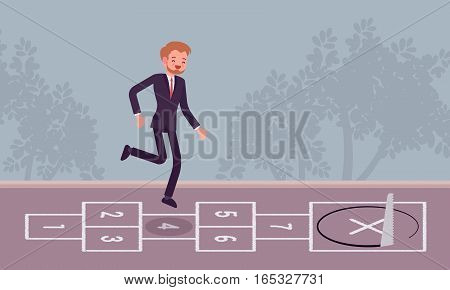 Young carefree businessman playing hopscotch, jumping unaware of danger in front of him, regard business like child's play, staing unfocused, meeting unpredicted problem, unfair competition