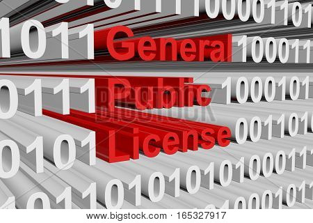 General Public License as binary code 3D illustration