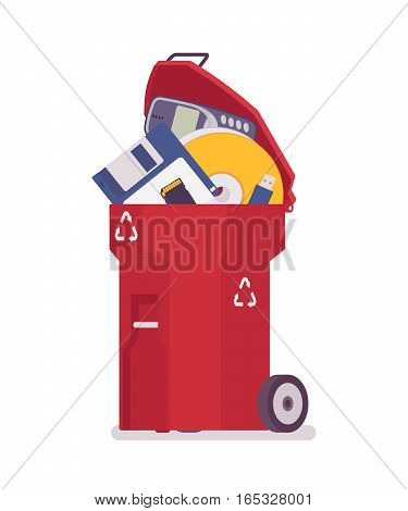 Plastic red trash bin with old memory, disk, diskette, useless digital information, lack of storage capacity, end of data archiving, delete and cleaning