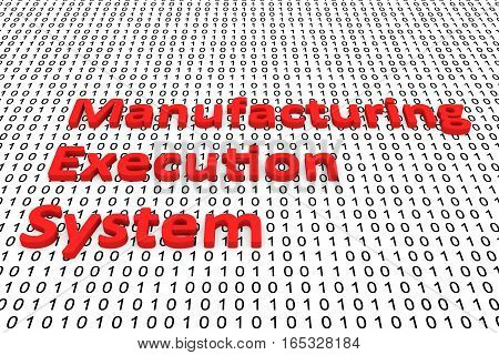 manufacturing execution system in the form of binary code, 3D illustration