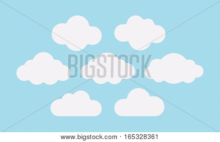 Set of fluffy white clouds on the light blue sky, good weather forecast, calm nursery decor, dreaming about heaven and peace, romantic wallpaper pattern, sweet childhood memories