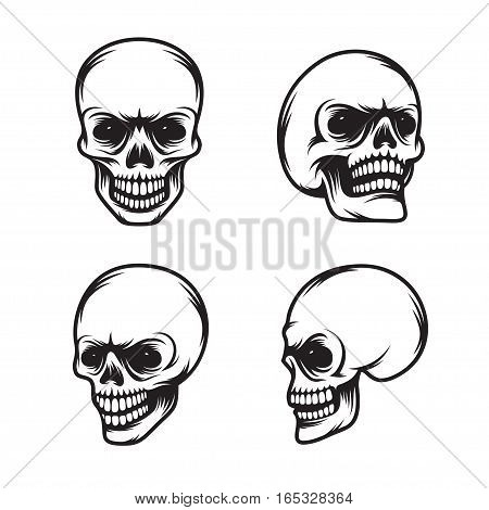 Set of vintage style skulls in four view plans. Monochrome design element for prints, posters, emblems, logos. Vector illustration.