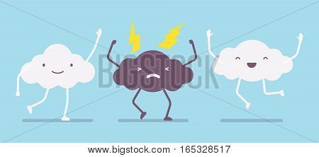 White fluffy cute happy clouds legs, arms jumping with joy and angry lightning storm cloud, weather is changing, good forecast, promising clear day, emotions and feelings, anger managment, bad temper