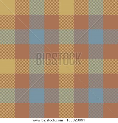 Brown check plaid seamless pattern. Vector illustration. EPS 10.