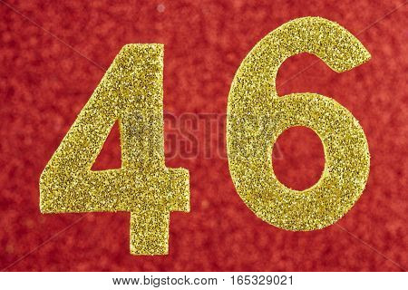 Number forty-six yellow color over a red background. Anniversary. Horizontal