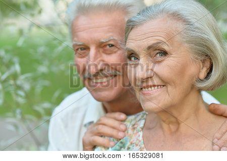 Loving mature couple on a walk in the park in summer