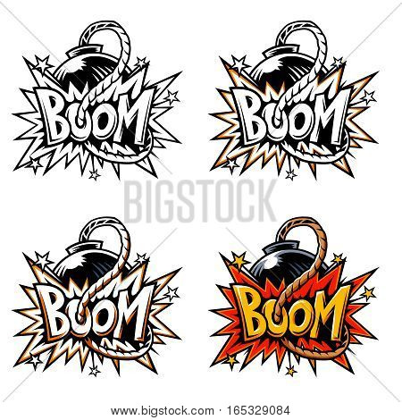 Vector comics icon. Explosion bubbles. Comic book explosion element