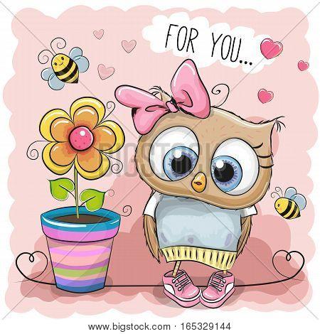 Greeting card Cute Cartoon Owl with flower