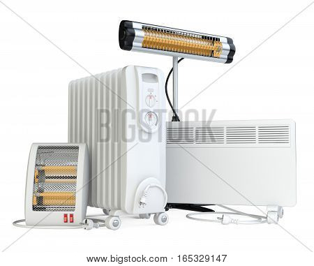 Home equipment for heating, halogen or infrared, convector, quartz and oil heater. High quality 3d illustration isolated on a white background.