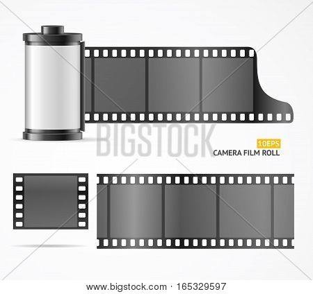 Camera Film Roll Cartrige, Blank Slide and Filmstrip for Equipment. Vector illustration