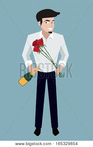 handsome smiling man with champagne bottle and flowers - funny vector cartoon character illustration