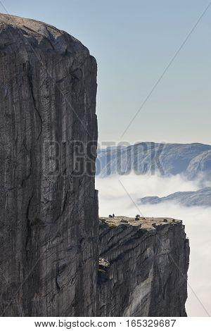 Norwegian fjord cloudy landscape. Lysefjorden area. Norway adventure tourism