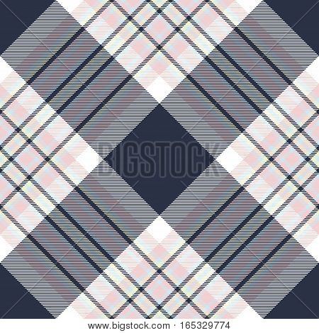 Check diagonal fabric texture seamless pattern. Vector illustration.