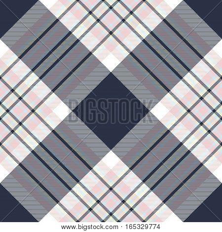 Check diagonal fabric texture seamless pattern. Vector illustration.