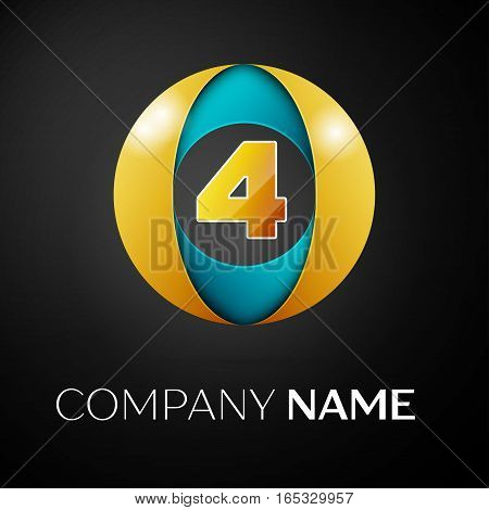 Number four vector logo symbol in the colorful circle on black background. Vector template for your design