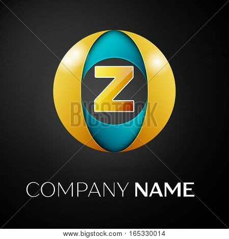 Letter Z vector logo symbol in the colorful circle on black background. Vector template for your design