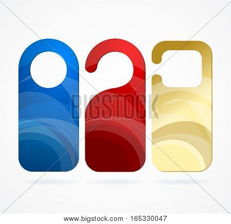 Color Template Blank Empty Hotel Door Labels Set with Abstract Pattern for Room. Vector illustration