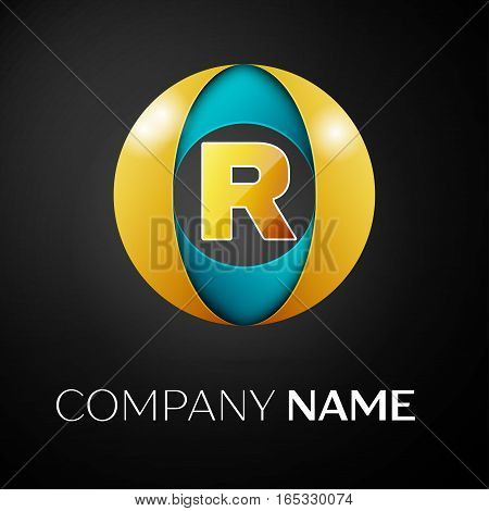 Letter R vector logo symbol in the colorful circle on black background. Vector template for your design