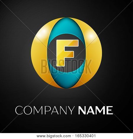 Letter F vector logo symbol in the colorful circle on black background. Vector template for your design