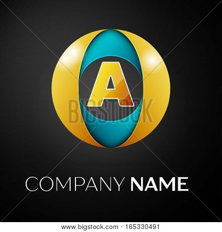 Letter A vector logo symbol in the colorful circle on black background. Vector template for your design