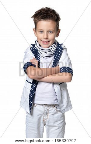Portrait of smiling little boy looking at the camera  isolated on white background
