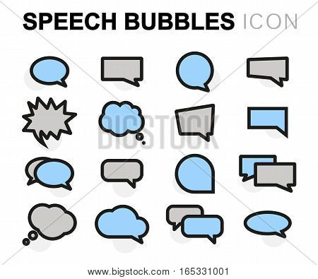 Vector flat speech bubbles icons set on white background