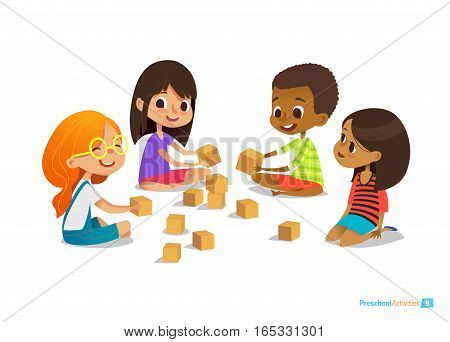 Laughing and smiling kids sit on floor in circle, play with toy cubes and talk. Children s entertainment, preschool and kindergarten activity concept. Vector illustration for website, banner, poster.