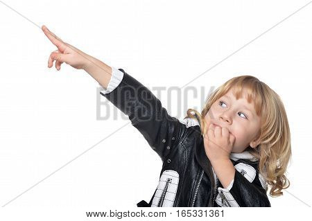 cute little fashionable boy posing against white background