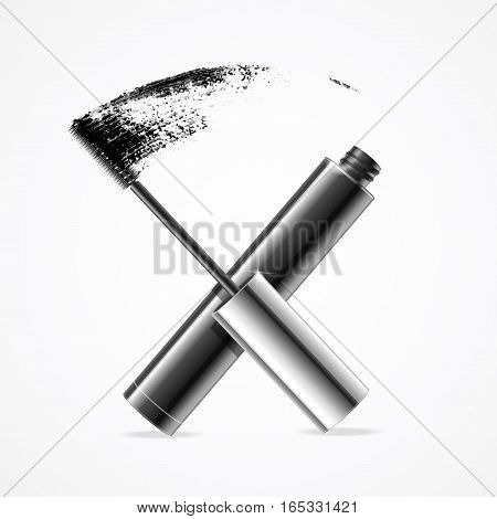 Realistic Mascara Brush Strokes Open Black Tube Waterproof Ink for Care Female Eyes or Makeup. Vector illustration