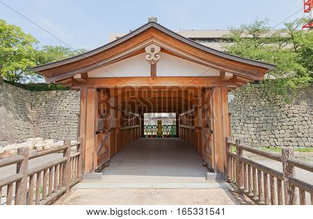 FUKUI JAPAN - AUGUST 02 2016: Reconstructed Rokabashi covered bridge of Fukui castle in Fukui Japan. Castle was founded in 1601 by Yuki Hideyasu and dismantled in 19th c.