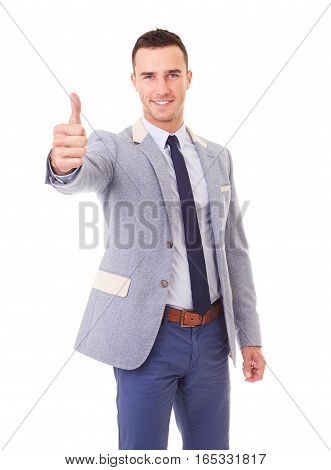 Portrait Of Happy Businessman In Blazer With Thumb Up, Isolated On White Background