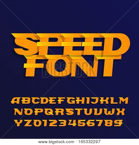 Speed alphabet font. Effect italic type letters and numbers on a dark background. Vector typeface for your design.